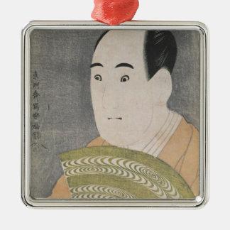 Sawamura Sojuro III in the Role of Ogishi Square Metal Christmas Ornament