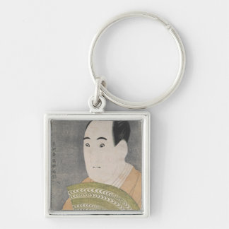 Sawamura Sojuro III in the Role of Ogishi Silver-Colored Square Keychain