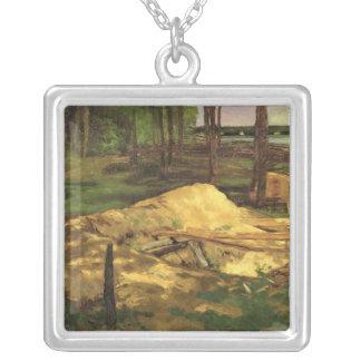 Sawdust Pit, 1876 Square Pendant Necklace