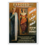 Sawing A Lady In Half ~ Magician Vintage Magic Act Card