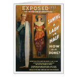 Sawing A Lady In Half ~ Magician Vintage Magic Act Greeting Cards