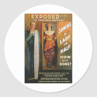 Sawing A Lady In Half ~ Magician Vintage Magic Act Classic Round Sticker