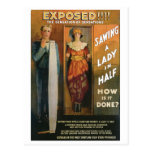 Sawing A Lady In Half ~ Magician Vintage Magic Act Postcard