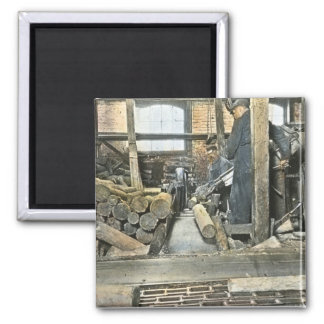 Sawmill Workers Magic Lantern Slide 2 2 Inch Square Magnet
