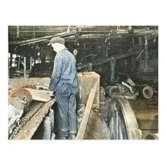 Sawmill Workers Magic Lantern Slide 5 Postcard