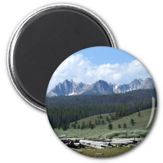 Sawtooth Mountains 2 Inch Round Magnet