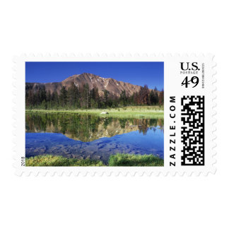 Sawtooth Mountains reflected in Fourth of July Postage