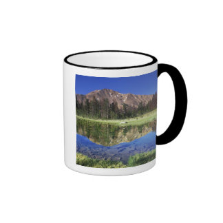 Sawtooth Mountains reflected in Fourth of July Ringer Coffee Mug