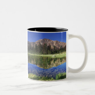 Sawtooth Mountains reflected in Fourth of July Two-Tone Coffee Mug