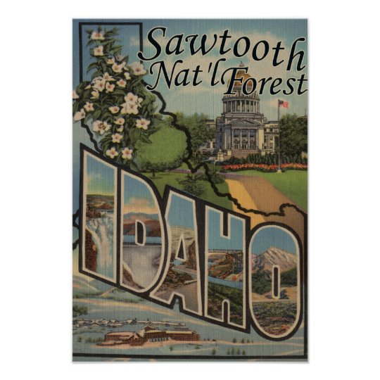 Sawtooth Nat'l Forest, Idaho - Large Letter Poster