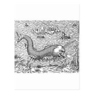 Sawtooth Shark Map Monster Postcard