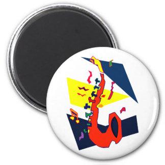 Sax Abstract Blue Yellow Orange Graphic Fridge Magnet