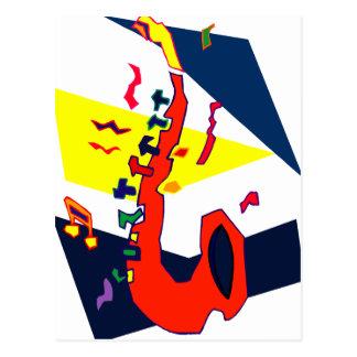 Sax Abstract Blue Yellow Orange Graphic Postcard