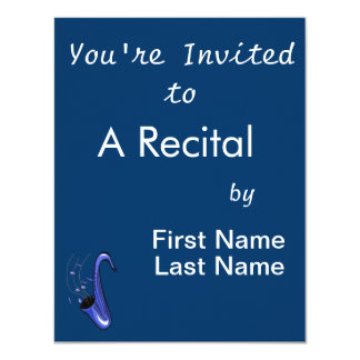 sax abstract saxophone w notes blue.png 4.25x5.5 paper invitation card