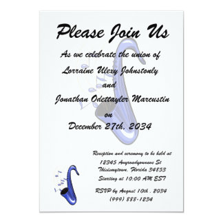 sax abstract saxophone w notes blue.png 5x7 paper invitation card
