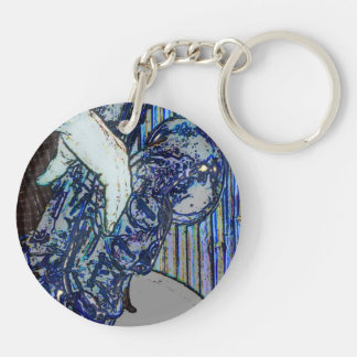 sax and hand blue poster edges music design keychain