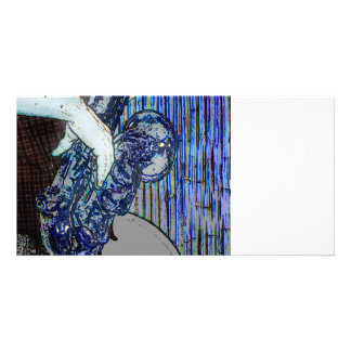 sax and hand blue poster edges music design photo card template