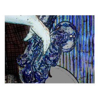 sax and hand blue poster edges music design postcard