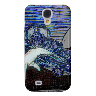 sax and hand blue poster edges music design samsung galaxy s4 case