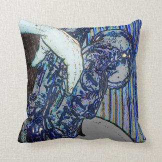 sax and hand blue poster edges music design throw pillow