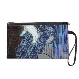 sax and hand blue poster edges music design wristlet purse
