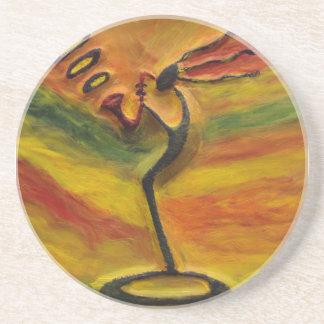 Sax Black African Art Gift_Home Decor Coasters