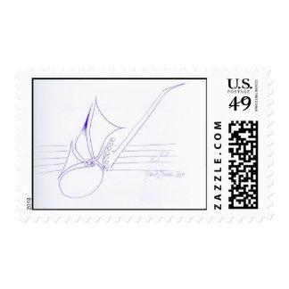 Sax Clef Postage Stamp