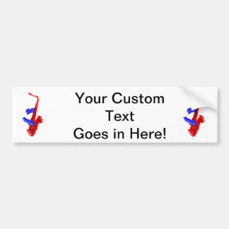 Sax design two hands red and blue version car bumper sticker