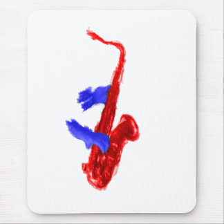 Sax design two hands red and blue version mouse pad