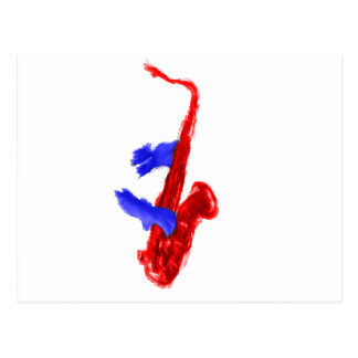 Sax design two hands red and blue version postcard