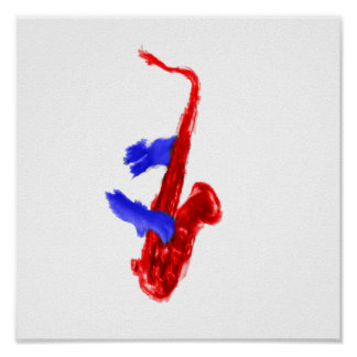 Sax design two hands red and blue version poster
