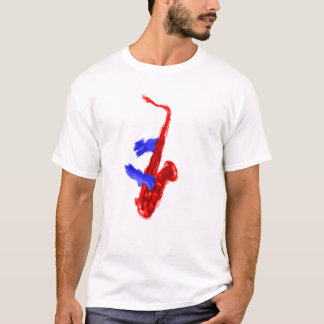 Sax design two hands red and blue version T-Shirt