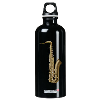 Sax facing right graphic aluminum water bottle
