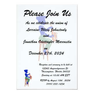 sax female sitting player abstract blue.png 5x7 paper invitation card