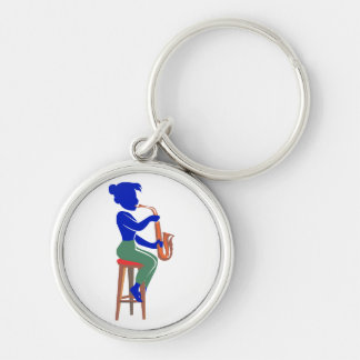sax female sitting player abstract blue.png Silver-Colored round keychain