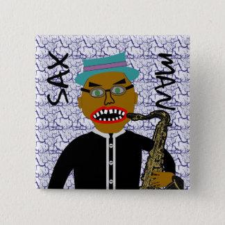 Sax Man Blues Folk Art Button