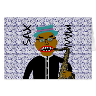 Sax Man Blues Folk Art Card