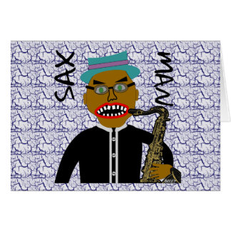 Sax Man Blues Folk Art Design Card