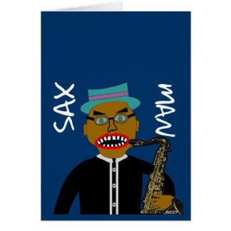 Sax Man Blues Folk Art Design Card