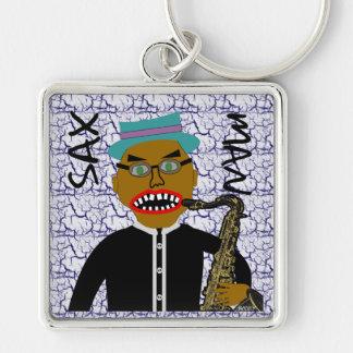 Sax Man Blues Folk Art Design Keychain