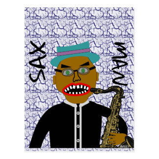 Sax Man Blues Folk Art Design Postcard