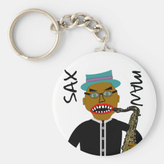 Sax Man Blues Folk Art Keychain