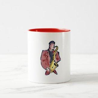 Sax-man design for mug