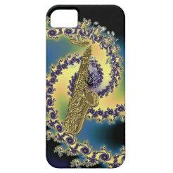 Sax Notes Golden Swirl Metallic Rainbow Notes Case iPhone 5 Cover