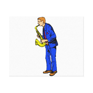 Sax Player Male Blue Suit Side View Music Graphic Canvas Print