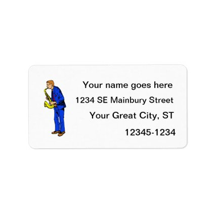 Sax Player Male Blue Suit Side View Music Graphic Custom Address Labels