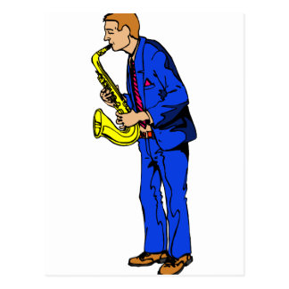 Sax Player Male Blue Suit Side View Music Graphic Postcard