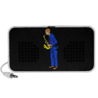 Sax Player Male Blue Suit Side View Music Graphic iPhone Speakers