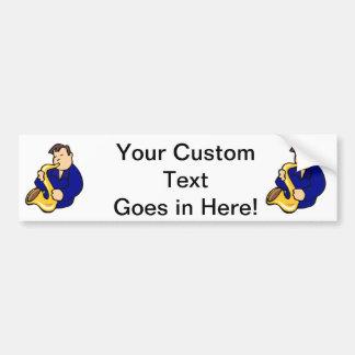 sax player man abstract blue.png bumper sticker