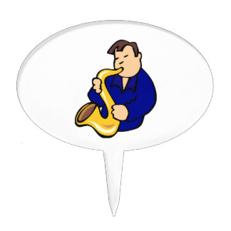 sax player man abstract blue.png cake topper